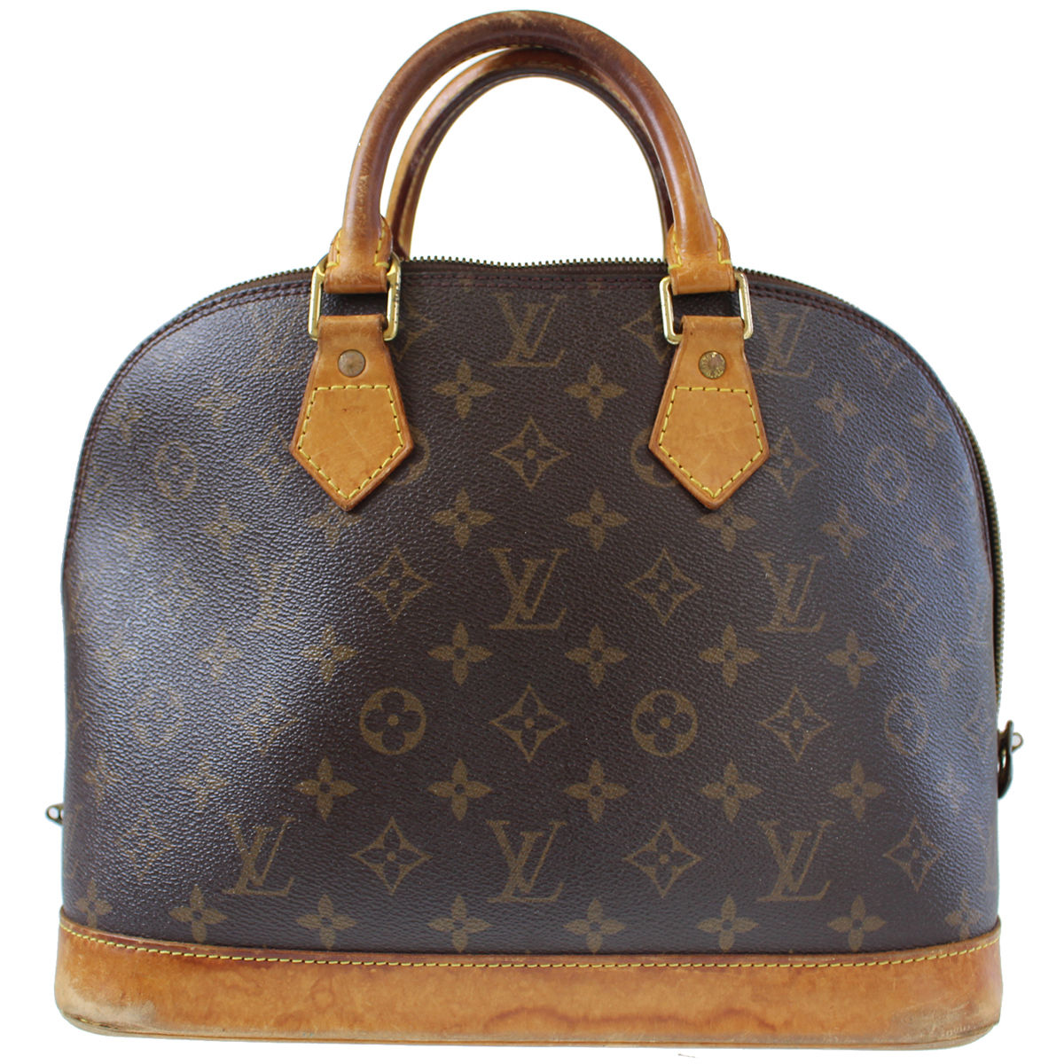 d767fd22c190 LOUIS VUITTON Alma Hand Bag Brown Monogram Leather - BkaysVintage